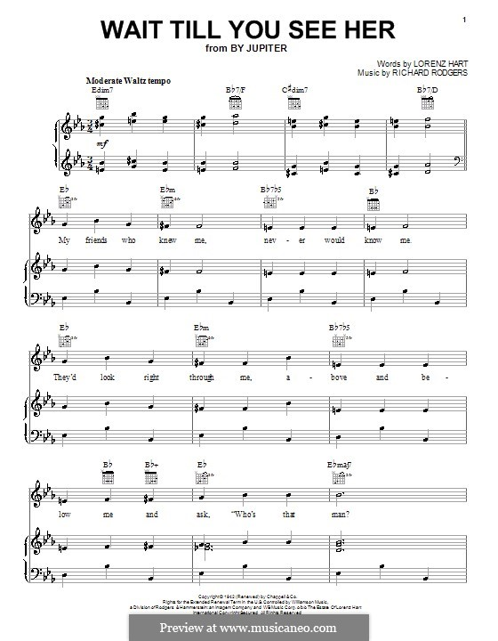 Wait Till You See Her: For voice and piano or guitar (high quality sheet music) by Richard Rodgers