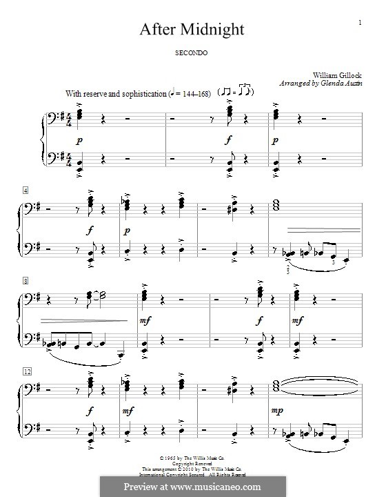 After Midnight: For piano four hands by William Gillock