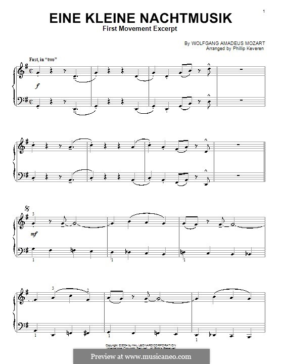 Allegro, version for piano: Jazz version by Wolfgang Amadeus Mozart