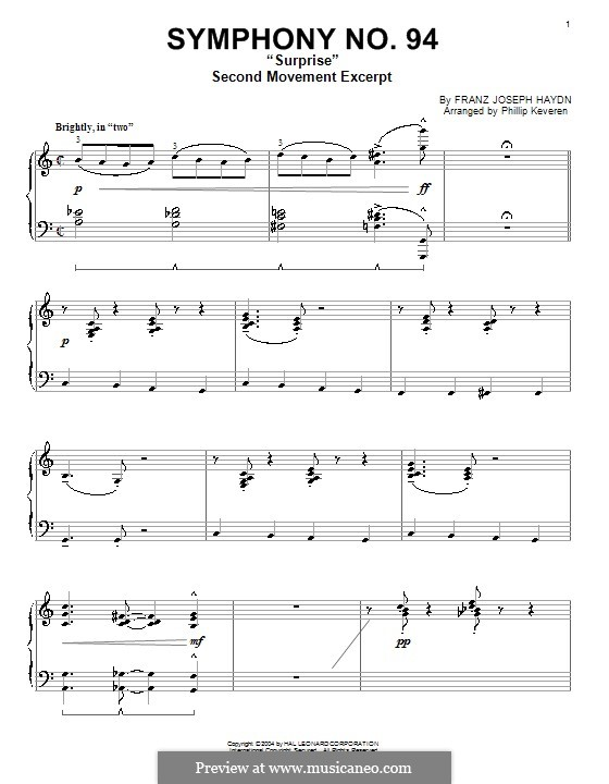 Symphony No.94 in G Major 'The Surprise', Hob.I/94: Andante. Version for piano (excerpt) by Joseph Haydn