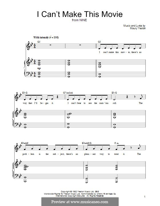 I Can't Make This Movie: For voice and piano (or guitar) by Maury Yeston