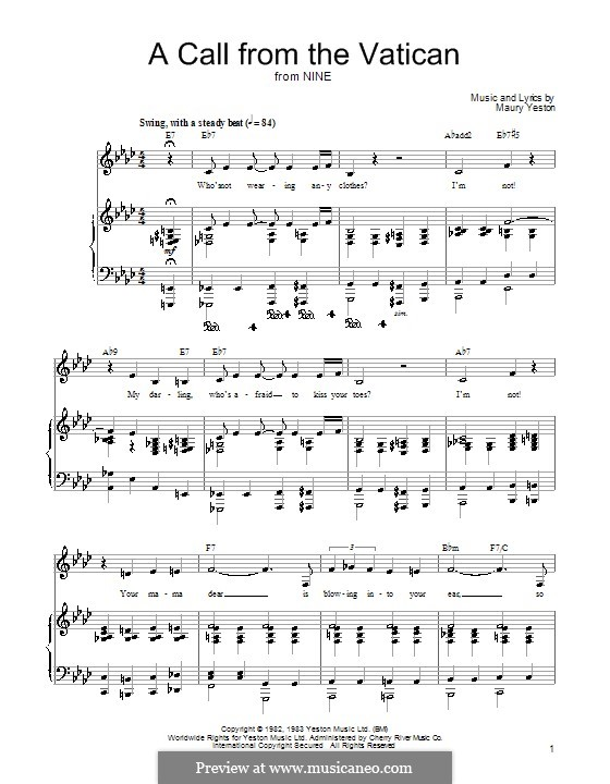 A Call from the Vatican: For voice and piano (or guitar) by Maury Yeston