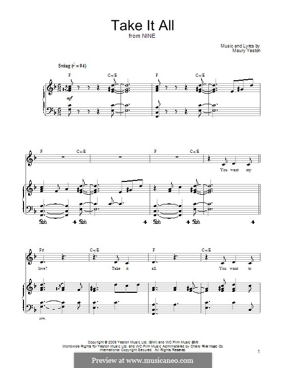 Take It All: For voice and piano (or guitar) by Maury Yeston