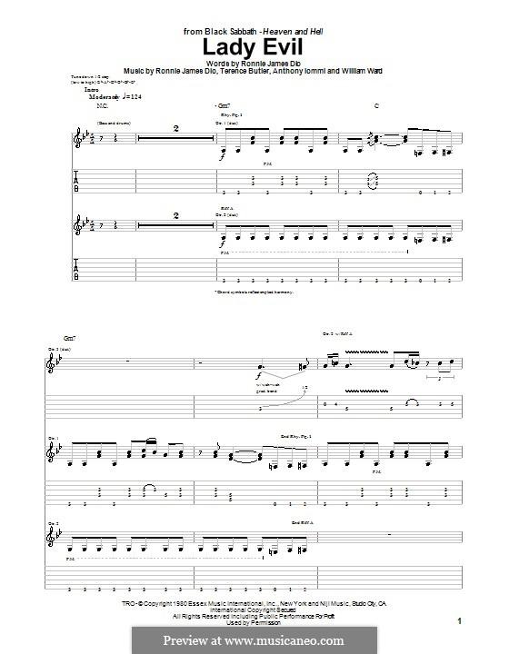 Lady Evil (Black Sabbath): For guitar with tab by Geezer Butler, Ronnie James Dio, Tony Iommi, Bill Ward