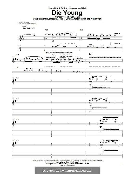 Die Young (Black Sabbath): For guitar with tab by Geezer Butler, Ronnie James Dio, Tony Iommi, Bill Ward