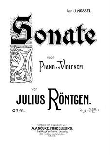 Sonata for Cello and Piano No.2, Op.41: Score, solo part by Julius Röntgen