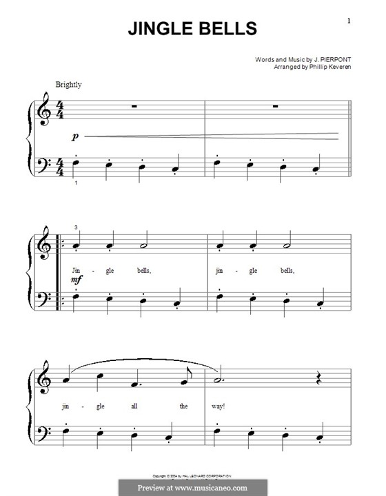 Jingle Bells, for Piano: Very easy version by James Lord Pierpont