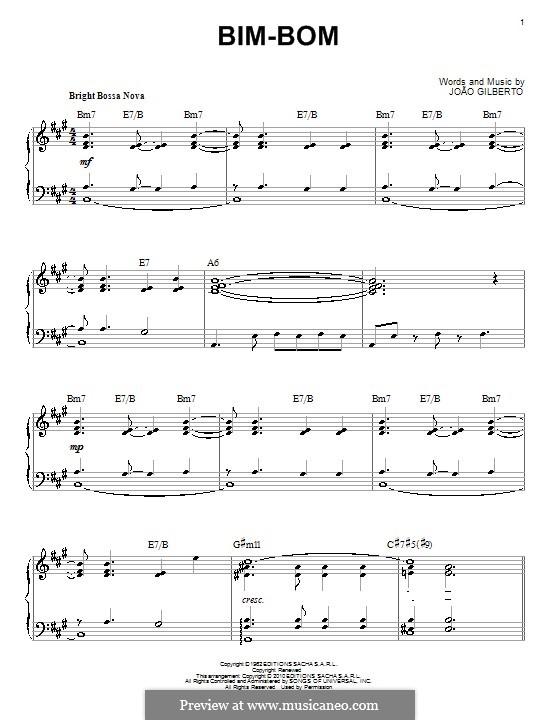 Bim-Bom: For piano by Joao Gilberto