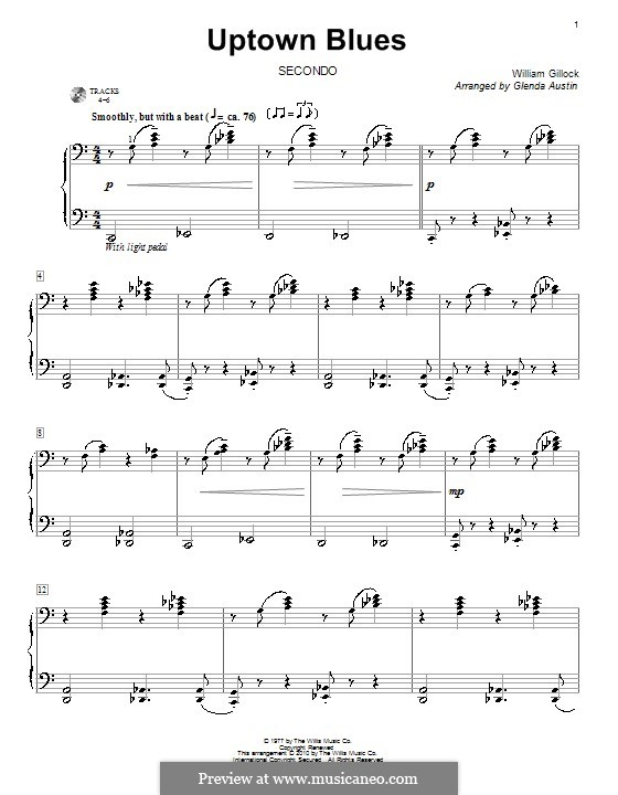 Uptown Blues: For piano four hands by William Gillock