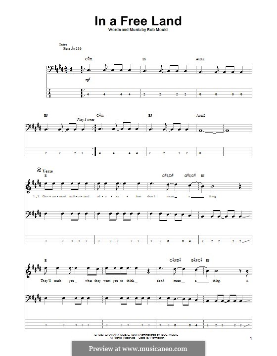 In a Free Land (Husker Du): For bass guitar with tab by Bob Mould