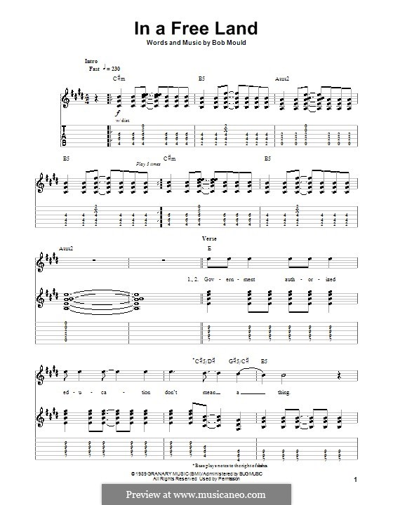 In a Free Land (Husker Du): For guitar with tab by Bob Mould