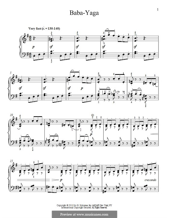 No.20 The Old Witch (Baba-Yaga): For piano by Pyotr Tchaikovsky