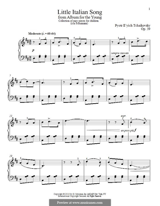 No.15 Italian Song: For piano by Pyotr Tchaikovsky