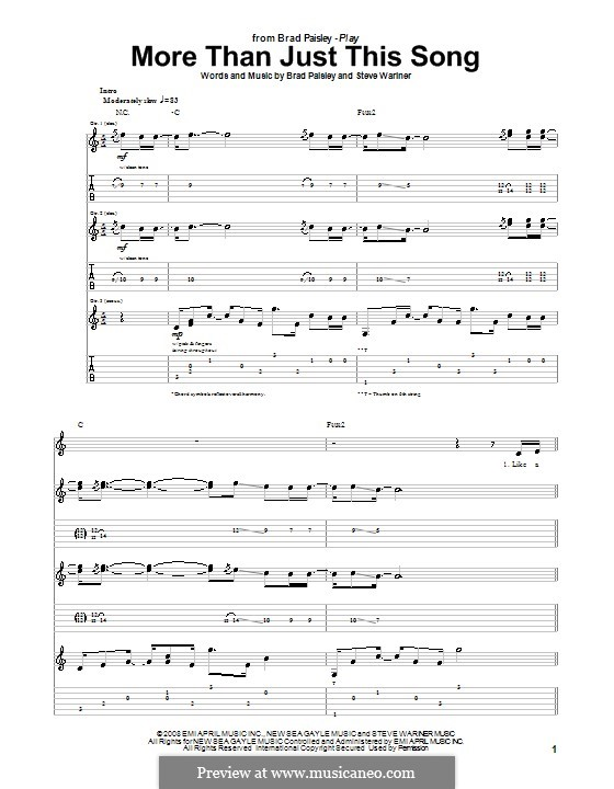 More Than Just This Song: For guitar with tab by Steve Wariner