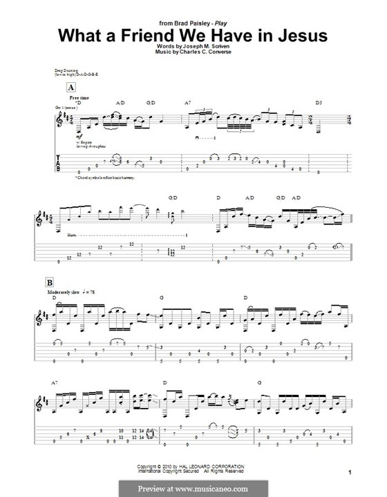 What a Friend We Have in Jesus (Printable): For guitar with tab by Charles Crozat Converse