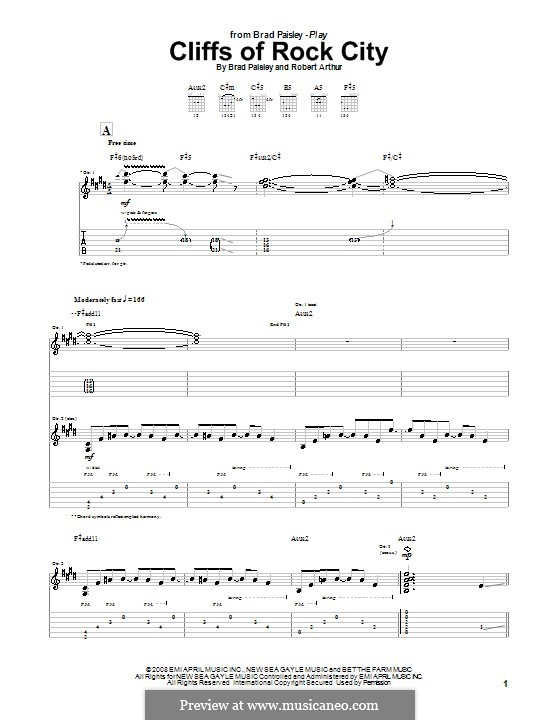 Cliffs of Rock City (Brad Paisley): For guitar with tab by Robert Arthur