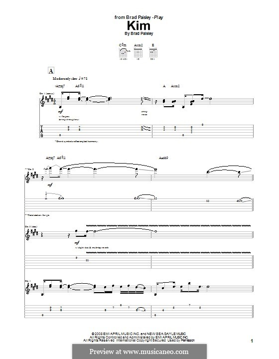 Kim: For guitar with tab by Brad Paisley