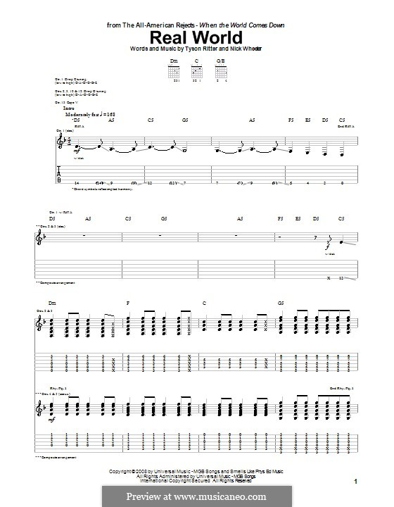 Real World (The All-American Rejects): For guitar with tab by Nick Wheeler, Tyson Ritter