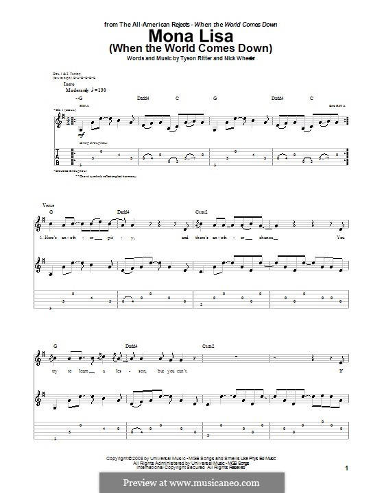 Mona Lisa (When the World Comes Down): For guitar with tab (The All-American Rejects) by Nick Wheeler, Tyson Ritter