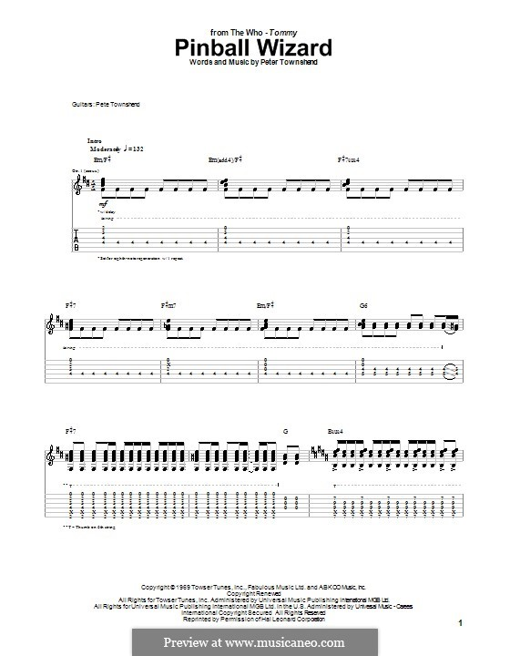 Pinball Wizard (The Who): For guitar with tablature (high quality sheet music) by Peter Townshend
