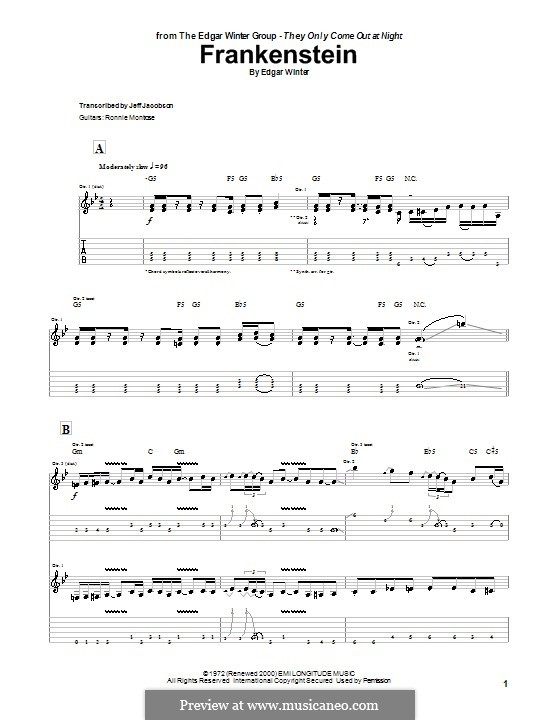 Frankenstein (from Wayne's World 2): For guitar with tab by Edgar Winter