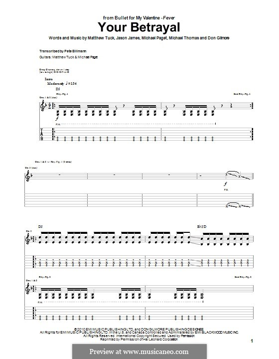 Your Betrayal (Bullet for My Valentine): For guitar with tab by Don Gilmore, Jason James, Matthew Tuck, Michael Paget, Michael Thomas