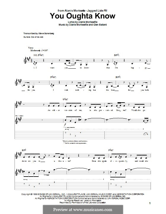 You Oughta Know: For guitar with tab by Glen Ballard