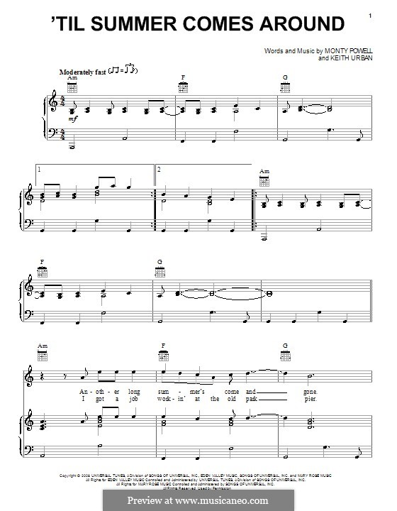 'Til Summer Comes Around (Keith Urban): For voice and piano (or guitar) by Monty Powell