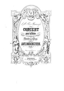 Concerto for Violin and Orchestra in G Major, Op.46: Full score by Anton Rubinstein