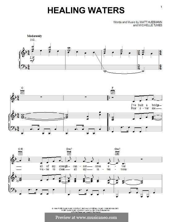 Healing Waters (Michelle Tumes): For voice and piano (or guitar) by Matt Huesmann