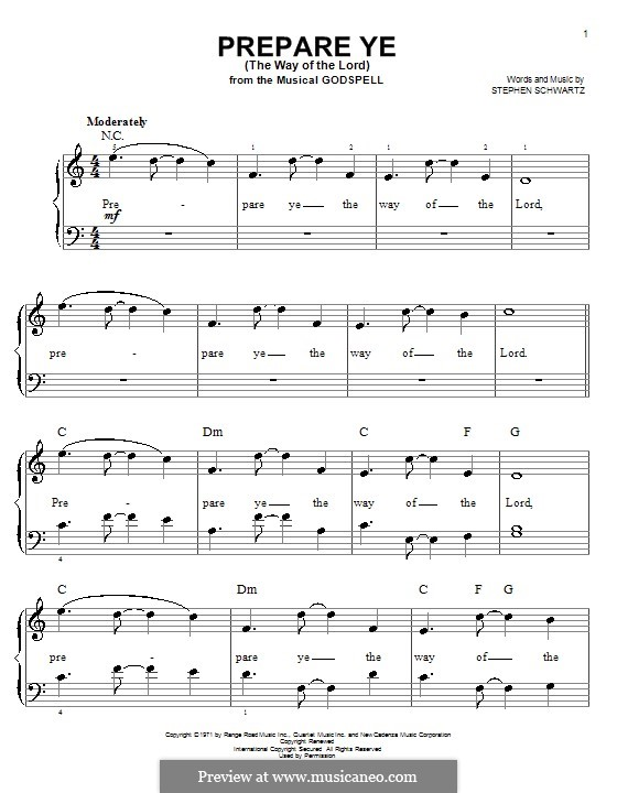 Prepare Ye (The Way of the Lord): For easy piano by Stephen Schwartz