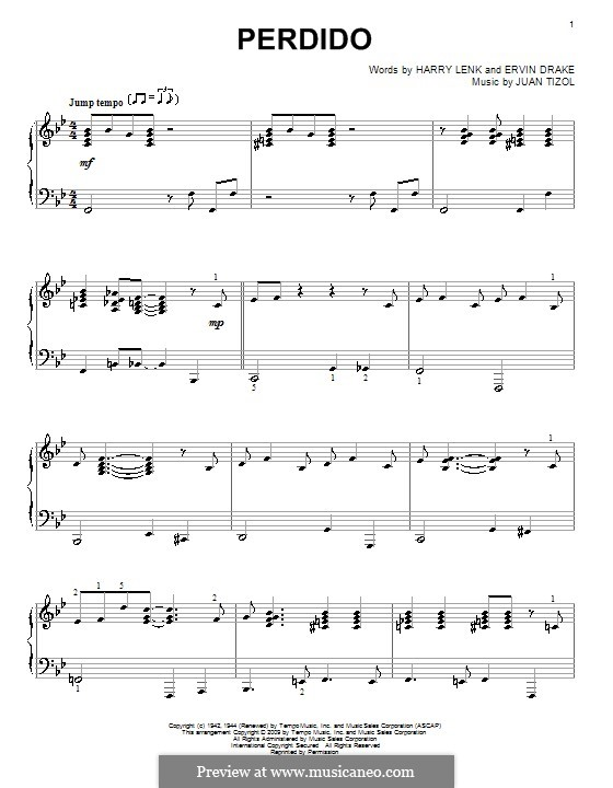 Perdido (Duke Ellington): For piano by Juan Tizol