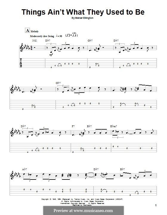Things Ain't What They Used To Be: For guitar with tab by Mercer Ellington