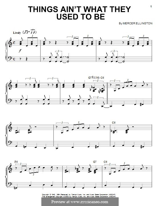 Things Ain't What They Used To Be: For piano by Mercer Ellington
