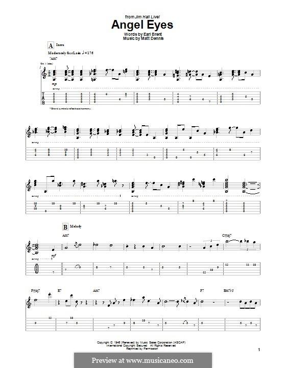 Angel Eyes (Frank Sinatra): For guitar with tab by Matt Dennis