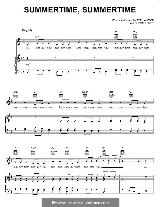 Summertime, Summertime (The Jamies): For voice and piano (or guitar) by Sherm Feller, Tom Jameson