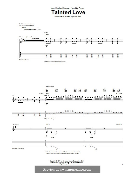 Tainted Love (Marc Almond & Soft Cell): For guitar with tab by Ed Cobb