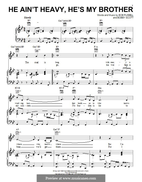 He Ain\'t Heavy, He\'s My Brother by B. Scott - sheet music on MusicaNeo