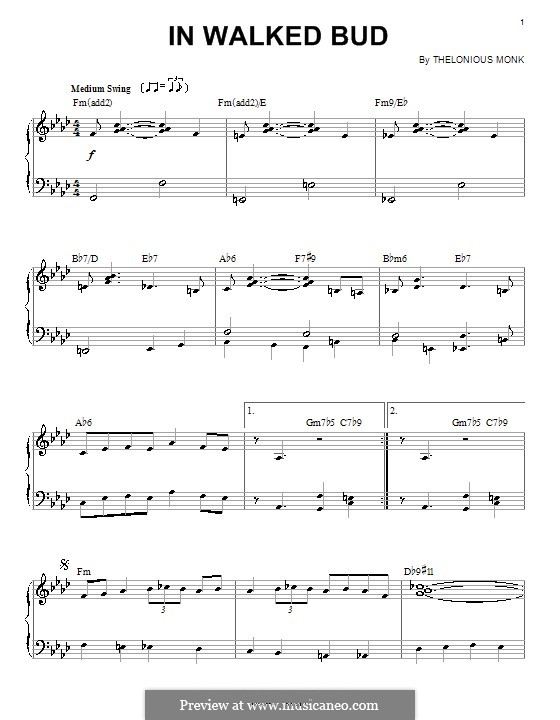 In Walked Bud: For piano by Thelonious Monk