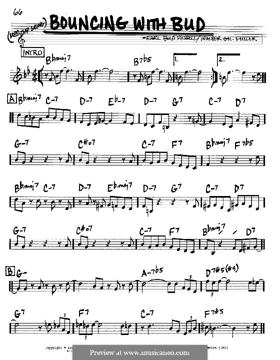Bouncing with Bud: Melody and chords - C instruments by Bud Powell, Walter Gil Fuller