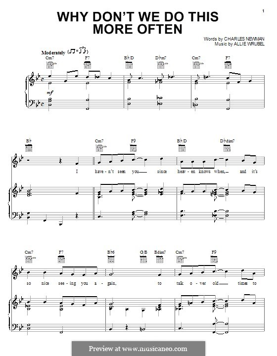 Why Don't We Do This More Often: For voice and piano (or guitar) by Allie Wrubel