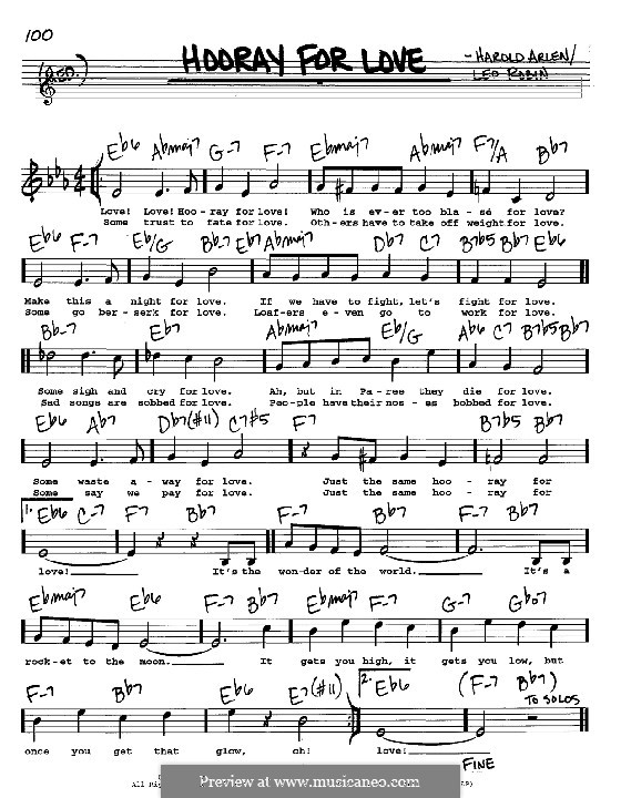 Hooray for Love: Melody, lyrics and chords - C instruments by Harold Arlen