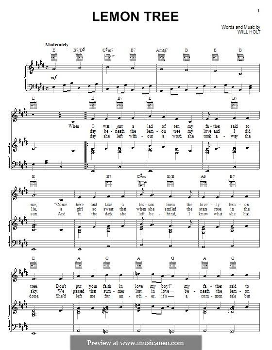 Lemon Tree by W. Holt - sheet music on MusicaNeo