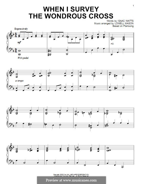 When I Survey the Wondrous Cross: For piano by folklore