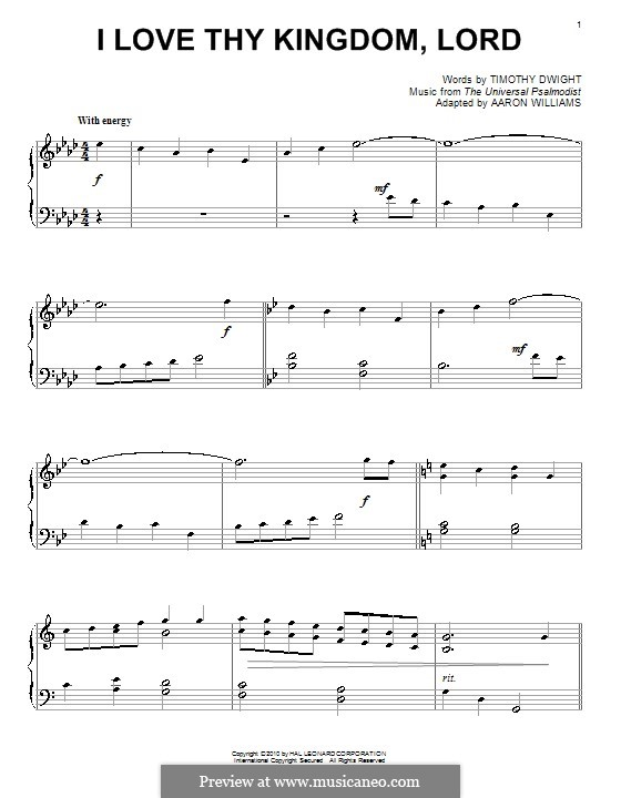 I Love Thy Kingdom, Lord: For piano by folklore
