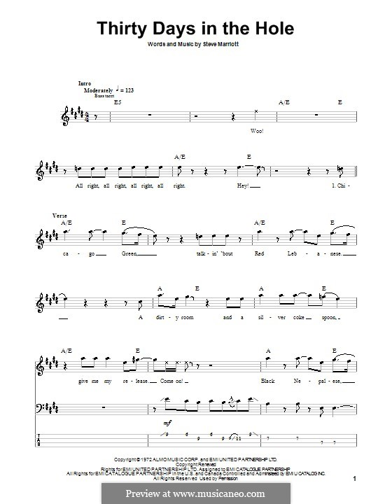 Thirty Days in the Hole (Humble Pie): For bass guitar with tabulature by Steve Marriott