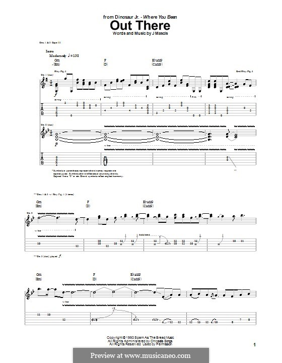 Out There (Dinosaur Jr.): For guitar with tab by Joseph Mascis Jr.