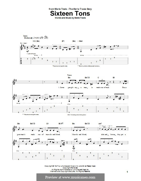 Sixteen Tons (Tennessee Ernie Ford): For guitar with tab by Merle Travis