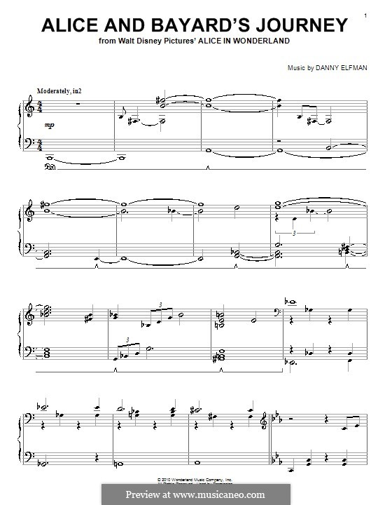 Alice and Bayard's Journey: For piano by Danny Elfman