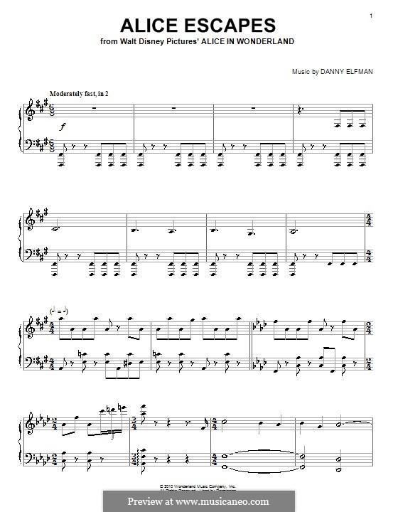 Alice Escapes: For piano by Danny Elfman